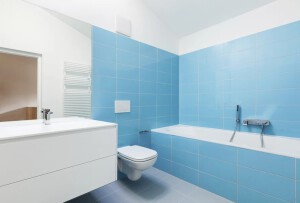 pintor economico en Valencia - baño azul